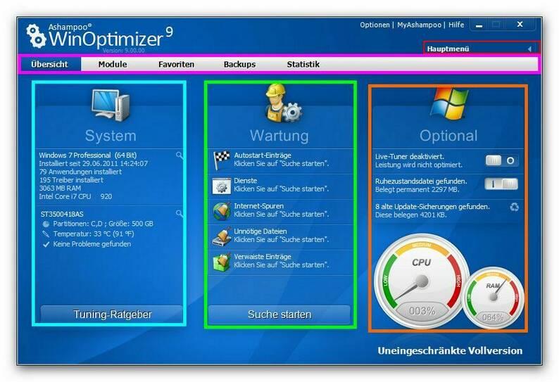 WinOptimizer main2.zoom90 Der Programmstart