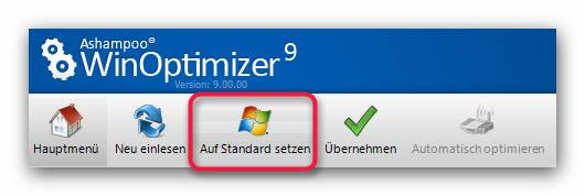 WinOptimizer standard Sicherheit / Wiederherstellung