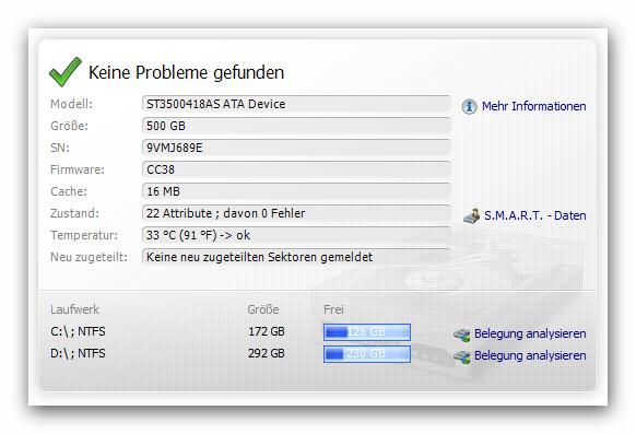 WinOptimizer status HDD Inspector