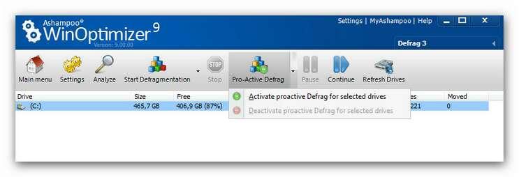 WinOptimizer wo9 defrag 3.zoom85 Pro Active Defrag
