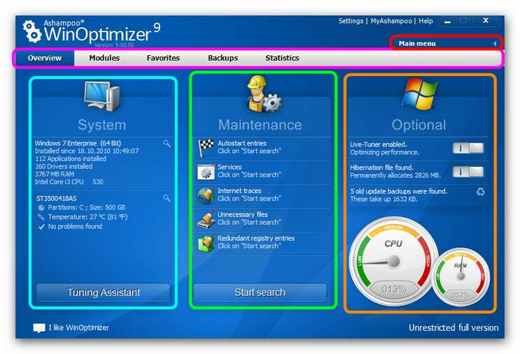 WinOptimizer wo9 overview new.zoom85 The Basics