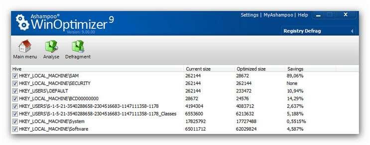 WinOptimizer wo9 registrydefrag results.zoom85 Registry Defrag