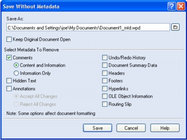 WordPerfect Office savewithoutmetadata Saving documents