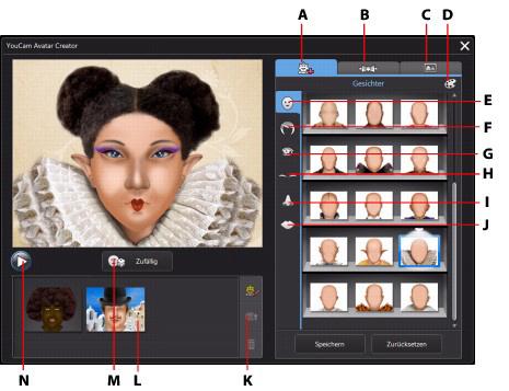 YouCam acui43 Verwenden des Avatar Creators