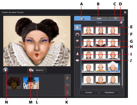 YouCam acui43 Uso del Creador de avatar