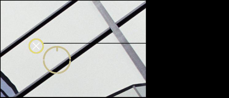 """Abbildung. Weißes """"X"""" über der Überlagerung """"Reparaturstempel"""" für das Ziel, das darauf hinweist, dass die Überlagerung gelöscht werden kann."""