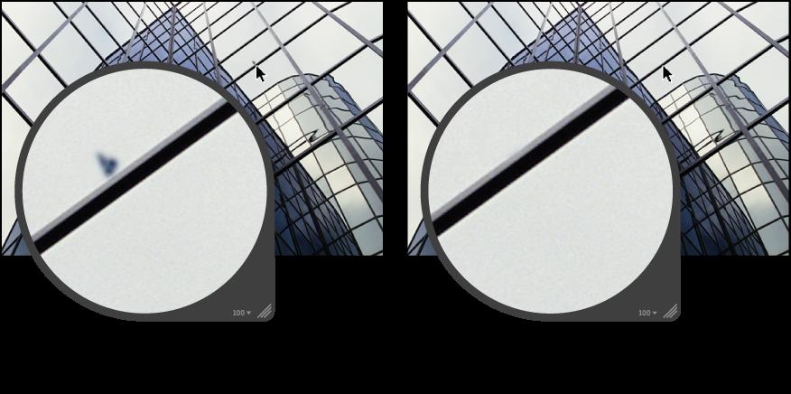"""Abbildung. Bild vor und nach der Anwendung der Methode """"Reparieren""""."""
