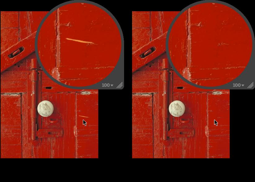 """Abbildung. Bild vor und nach der Anwendung der Anpassung """"Reparieren""""."""
