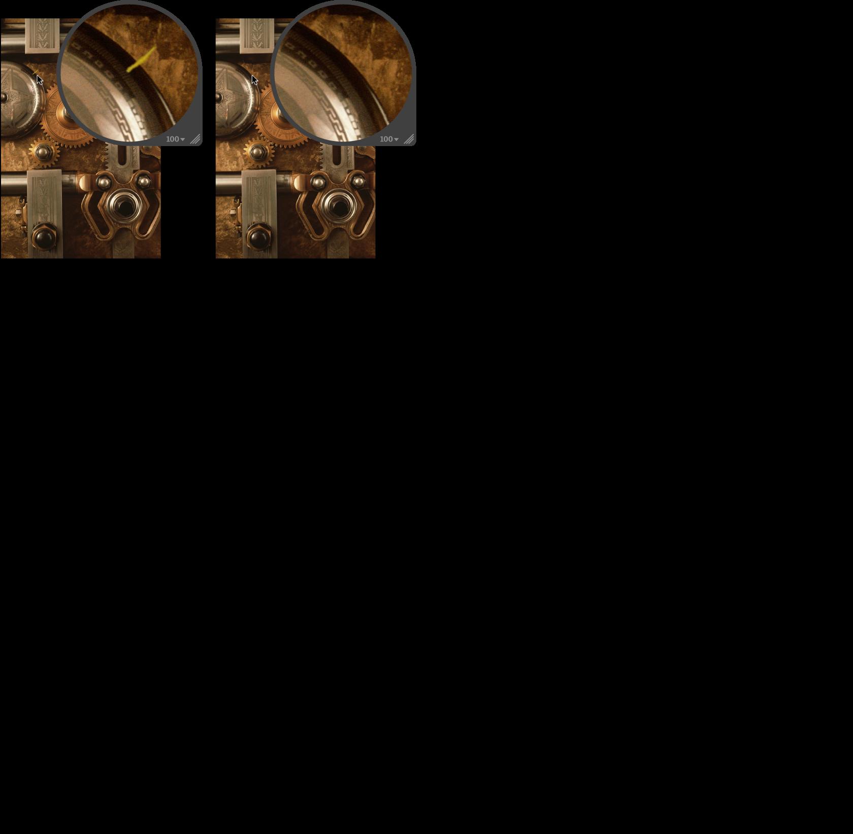 """Abbildung. Bild vor und nach der Anwendung der Anpassung """"Klonen""""."""