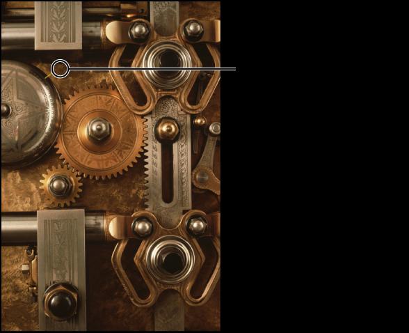 """Abbildung. Kreisförmige Überlagerung, die die Position des Pinsels """"Klonen"""" angibt."""