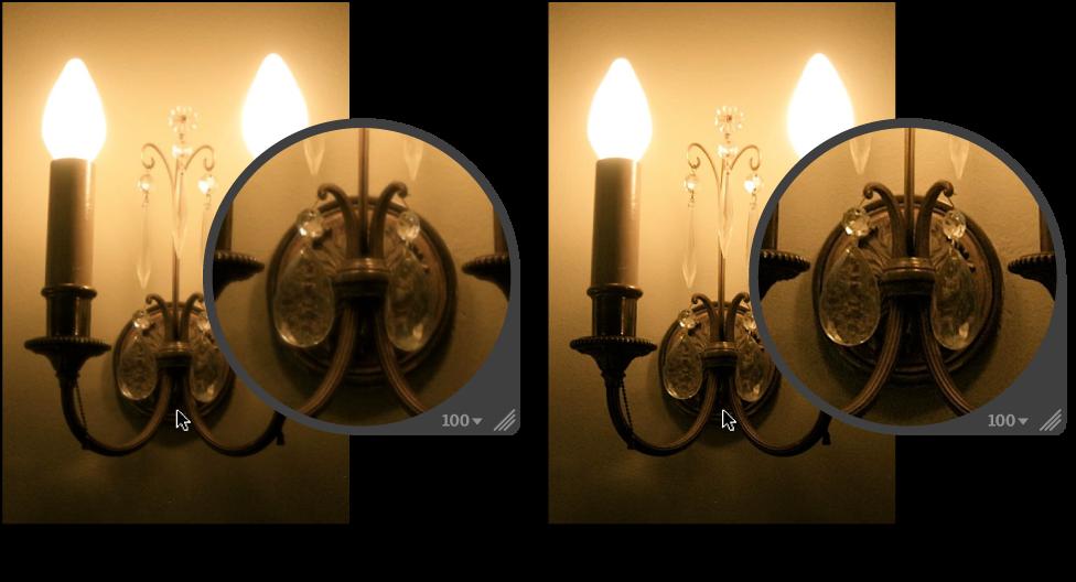 """Abbildung. Bild vor und nach der Anwendung der Quick-Brush-Anpassung """"Scharfzeichnen""""."""