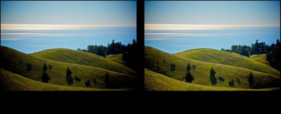 """Abbildung. Bild vor und nach der Anwendung der Quick-Brush-Anpassung """"Abwedeln (Aufhellen)""""."""