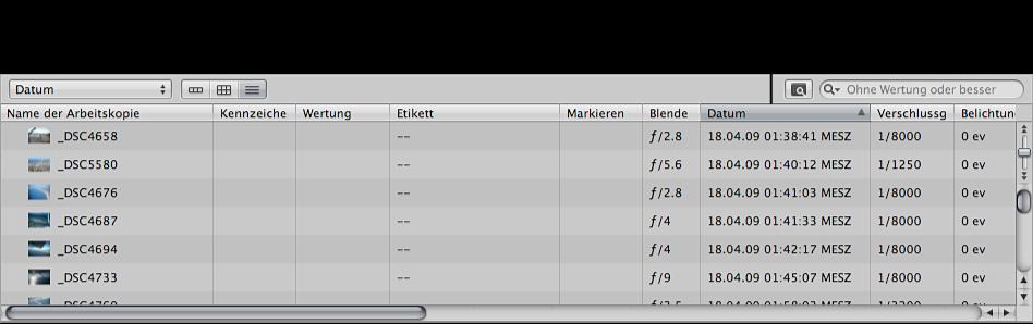 Abbildung. Browser in der Listendarstellung mit nach Datum sortierten Bildern.
