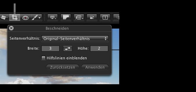 """Abbildung. Das Werkzeug """"Beschneiden"""" in der Symbolleiste in der bildschirmfüllenden Darstellung und die Schwebepalette """"Beschneiden"""", die nach der Auswahl des Werkzeugs """"Beschneiden"""" eingeblendet wird."""