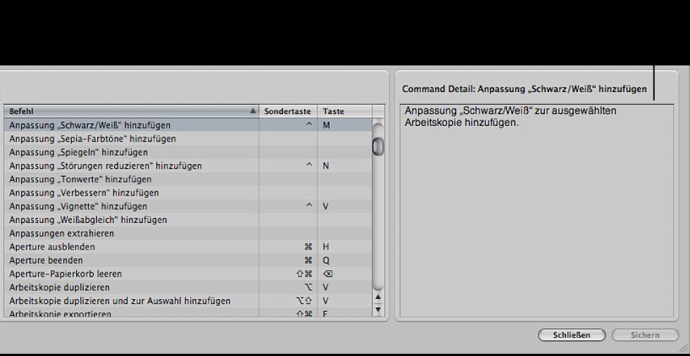Abbildung. Ausgewählter Befehl in der Befehlsliste und der Abschnitt mit den Detailinformationen mit einer kurzen Beschreibung des Befehls.