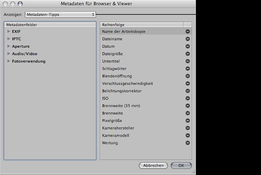 """Abbildung. Einblendmenü """"Anzeigen"""" im Dialogfenster """"Metadaten für Browser & Viewer""""."""