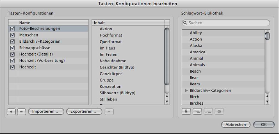 """Abbildung. Das Dialogfenster """"Tasten-Konfigurationen bearbeiten""""."""