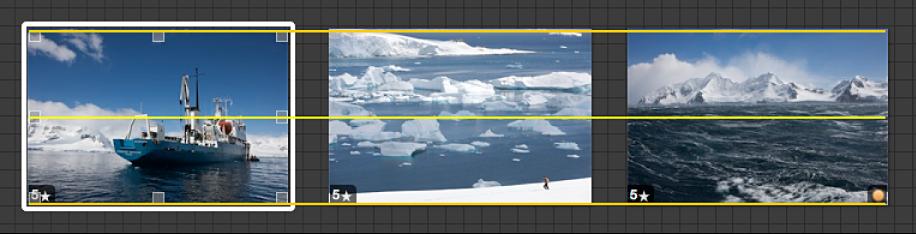 Abbildung. Bild, das bewegt wird, und gelbe Hilfslinien, die das visuelle Ausrichten des Bilds mit den anderen Bildern auf dem Leuchttisch erleichtern.
