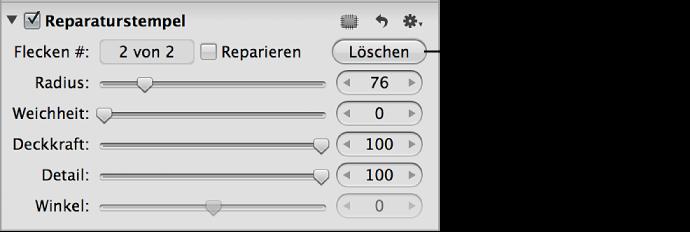 """Abbildung. Taste """"Löschen"""" im Abschnitt """"Reparaturstempel"""" des Informationsfensters """"Anpassungen""""."""