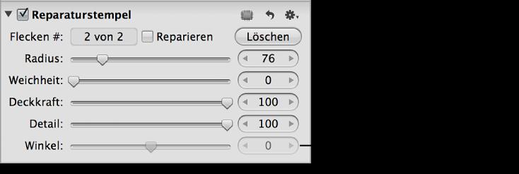 """Abbildung. Steuerelemente des Parameters """"Winkel"""" im Abschnitt """"Reparaturstempel"""" des Informationsfensters """"Anpassungen""""."""