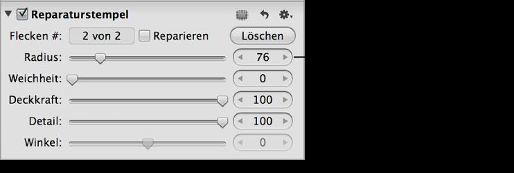 """Abbildung. Steuerelemente des Parameters """"Radius"""" im Abschnitt """"Reparaturstempel"""" des Informationsfensters """"Anpassungen""""."""
