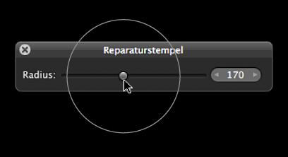 """Abbildung. Kreisförmige Überlagerung über dem Schieberegler """"Radius"""" in der Schwebepalette """"Reparaturstempel"""", die die Größe der Überlagerung """"Reparaturstempel"""" für das Ziel angibt."""