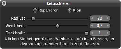 """Abbildung. Steuerelemente für den Pinsel """"Klonen"""" in der Schwebepalette """"Retuschieren""""."""