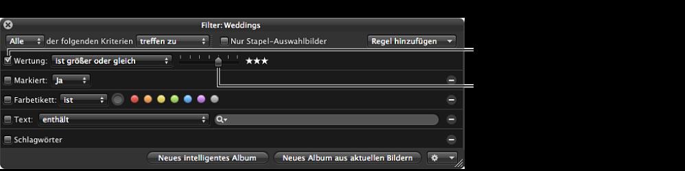 """Abbildung. Schwebepalette """"Filter"""" mit den Suchkriterien für Bewertungen."""