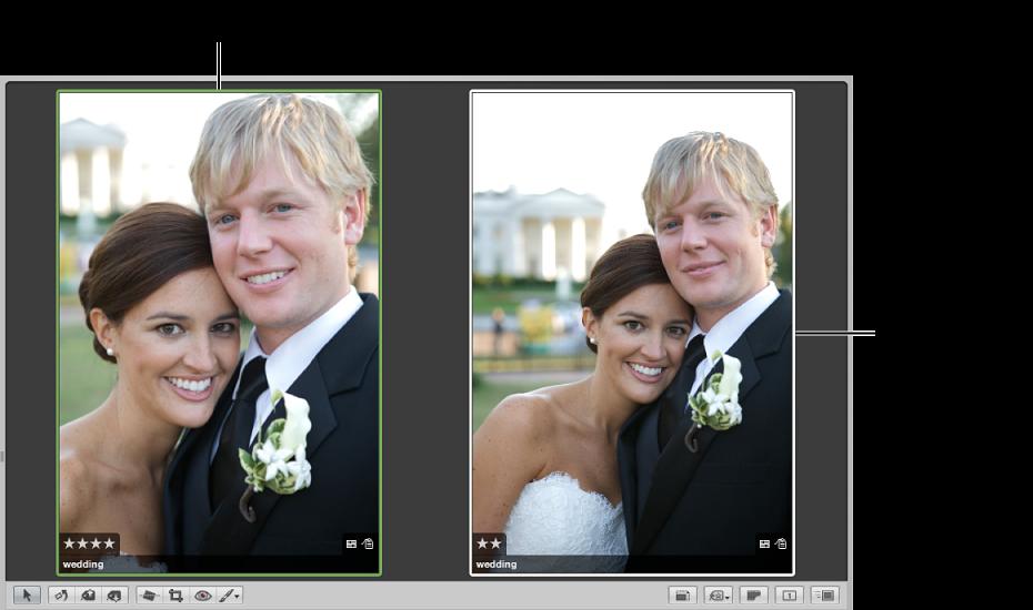Abbildung. Viewer mit einem Vergleichsfoto mit grünem Rahmen auf der linken Seite und einem Alternativfoto mit einem weißen Rahmen auf der rechten Seite.