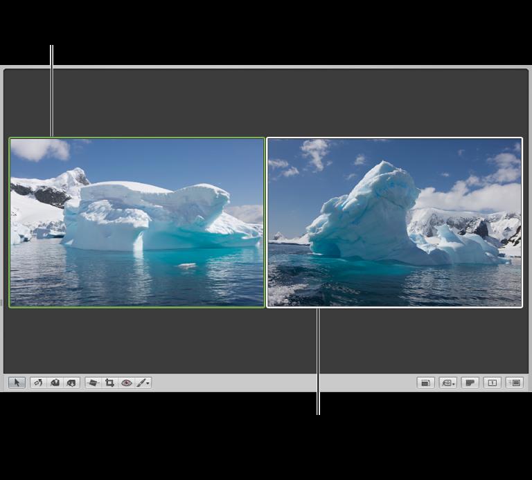 Abbildung. Für den Vergleich von Bildern konfigurierter Viewer mit grün umrandetem Vergleichsbild und weiß umrandetem Bild, das verglichen wird.
