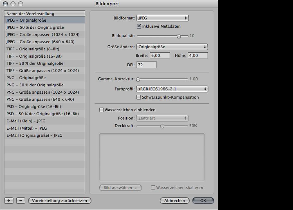 """Abbildung. Optionen für die Bildanpassung im Dialogfenster """"Bildexport""""."""