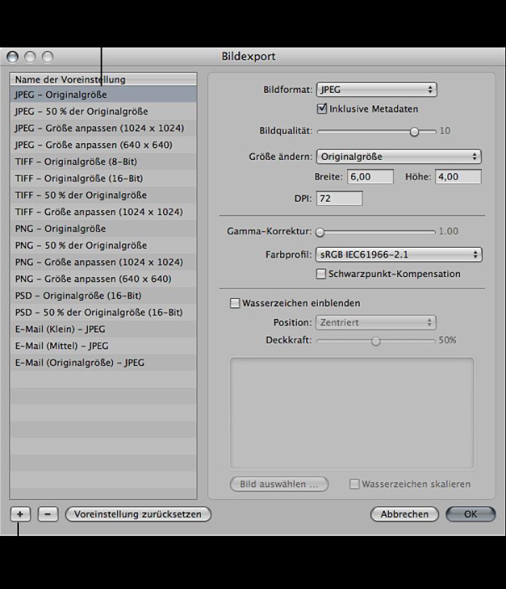 "Abbildung. Steuerelemente im Dialogfenster ""Bildexport"""
