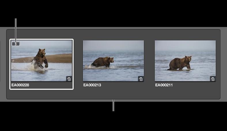 Abbildung. Geöffneter Stapel mit drei Bildern.