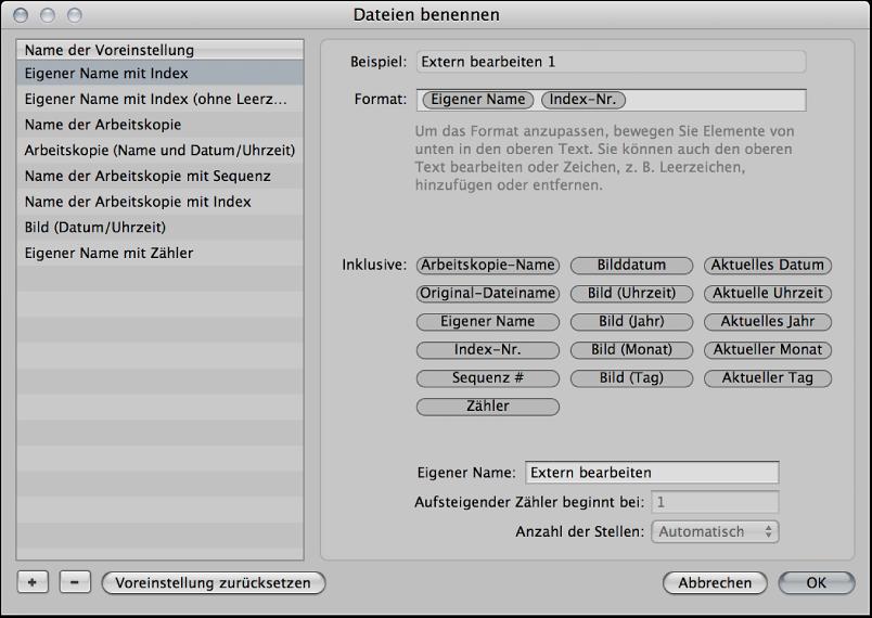 """Abbildung. Dialogfenster """"Dateien benennen""""."""