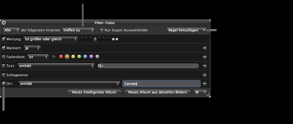"""Abbildung. Schwebepalette """"Filter"""" im Browser für eine Suche mit einer Kombination von Suchkriterien konfiguriert."""