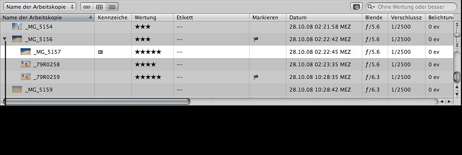 Abbildung. Browser in der Listendarstellung mit einem Stapel.