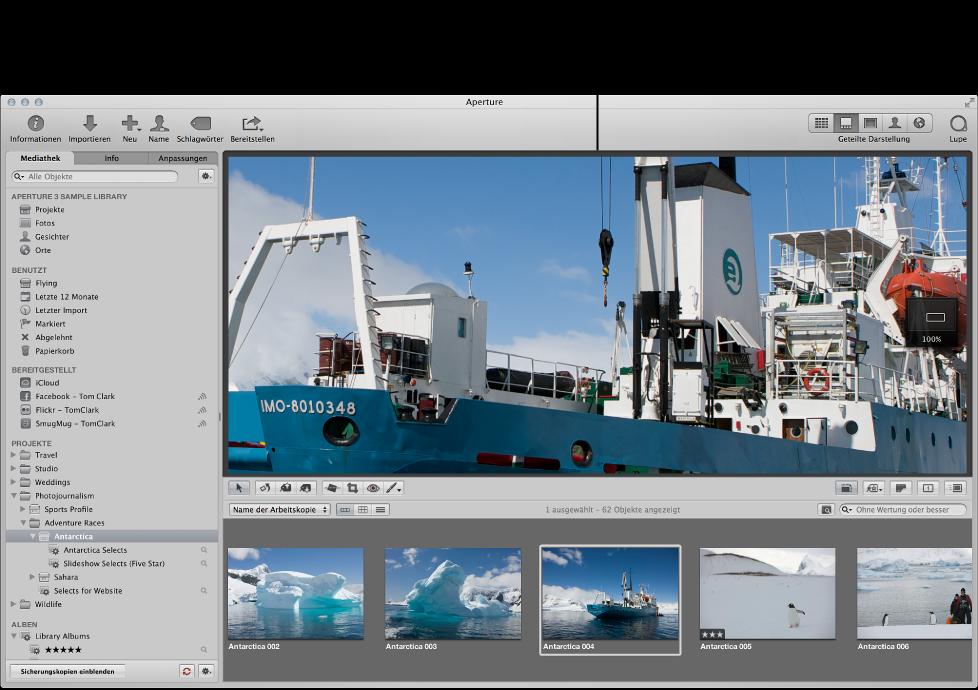 Abbildung. Hauptfenster von Aperture mit dem Ausschnitt eines Bilds in voller Auflösung, das im Viewer angezeigt wird.