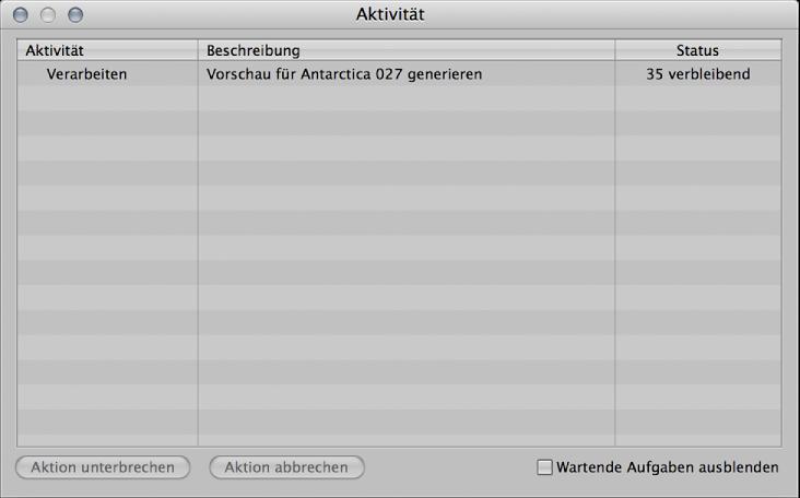 """Abbildung. Fenster """"Aktivität"""" mit der Aktion """"JPEG-Vorschaubilder erstellen""""."""