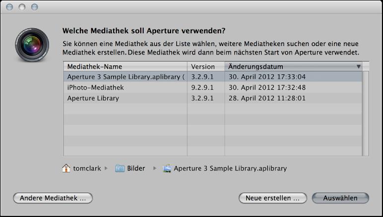 """Abbildung. Steuerelemente im Dialogfenster """"Welche Mediathek soll Aperture verwenden""""."""