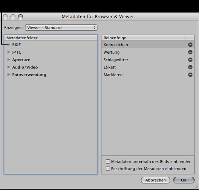 """Abbildung. Steuerelemente im Dialogfenster """"Metadaten für Browser & Viewer""""."""