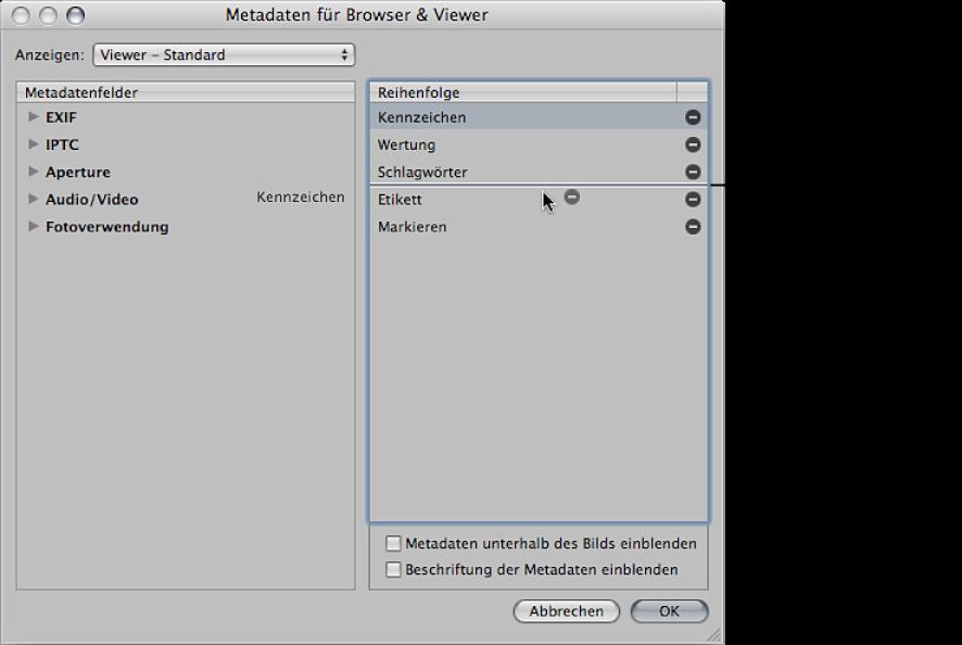 """Abbildung. Metadatenfelder werden in der Spalte """"Reihenfolge"""" des Dialogfensters """"Metadaten für Browser & Viewer"""" an eine andere Position bewegt."""
