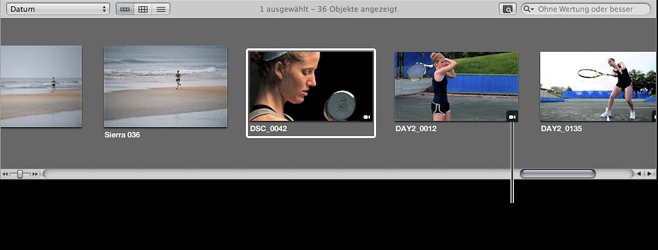 Abbildung. Kennzeichen für einen Videoclip auf der Miniatur eines Videoclips im Browser.