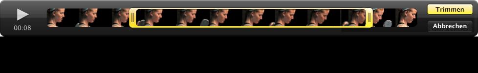Abbildung. Start- und Endpunkt für einen Videoclip im Viewer.