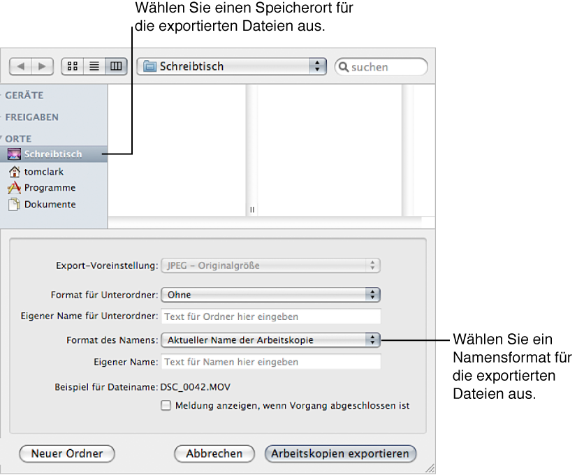 "Abbildung. Steuerelemente im Dialogfenster ""Exportieren"""