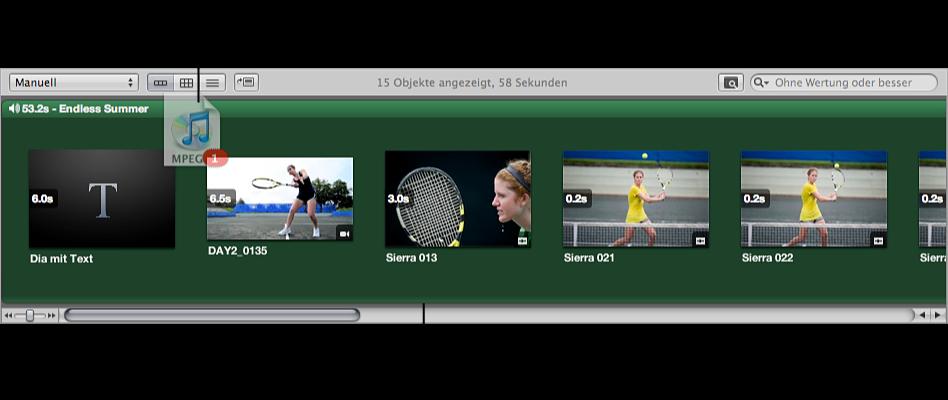 Abbildung. Audioclip, der zur Browser-Timeline bewegt wird, und Browser mit grünem Hintergrund.