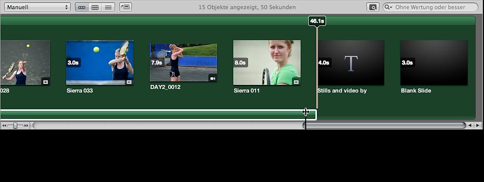 Abbildung. Browser mit dem Zeiger als Doppelpfeil, der zum Ändern der Dauer des Audioclips verwendet wird.