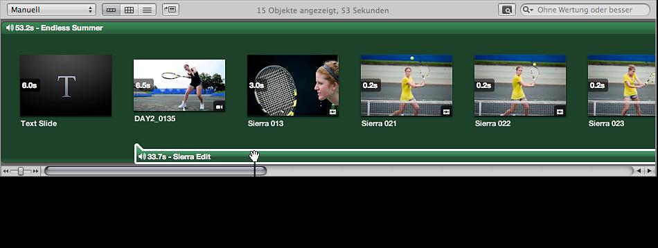 Abbildung. Browser mit einem Clip in der sekundären Audiospur, der an eine andere Position bewegt wird.