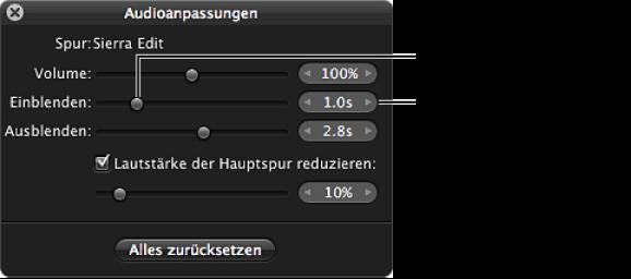 """Abbildung. Steuerelemente für den Einblendeffekt in der Schwebepalette """"Audioanpassungen""""."""