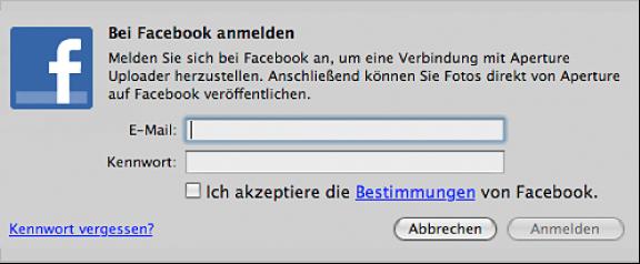 Abbildung. Facebook-Anmeldefenster.