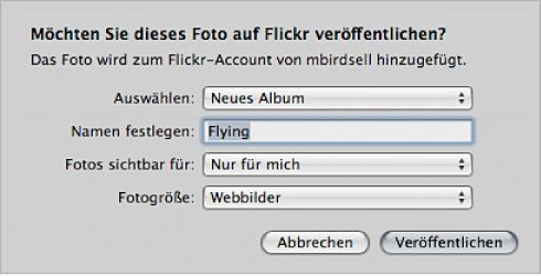 Abbildung. Fenster zum Erstellen und Veröffentlichen eines Flickr-Albums.